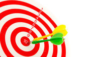 2 dart green and yellow color right on target — Stock Photo