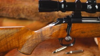 American Hunting Rifle and Ammunition — Stock Video