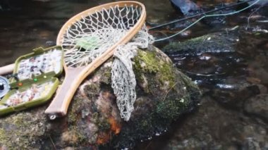 Fly Fishing in mountain stream — Vidéo