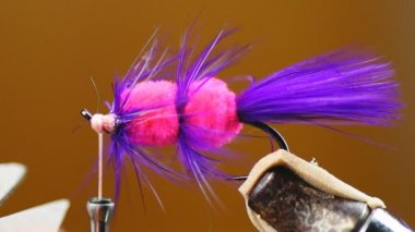 Fly tying Salmon Lure for fishing — Stock Video