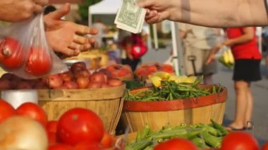 Food being purchased at Farmer's Market. — Stock Video