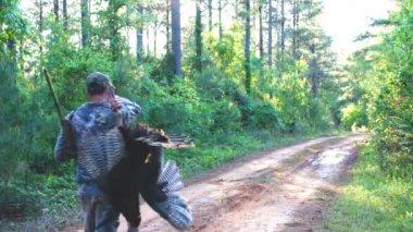 Hunter with Wild Turkey — Stock Video
