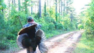 Hunter with Wild Turkey — Stok video