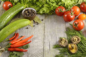 Litchen still life with vegetables — Stock Photo