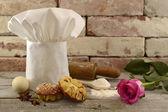 Toque with bakery — Stock Photo