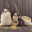 Small burlap bags with broomstick — Stockfoto