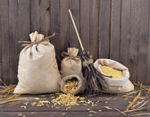 Small burlap bags with broomstick — Stock Photo