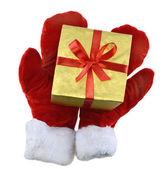 Santa mittens — Stock Photo
