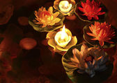 Lotus flower and burning candles — Stock Photo