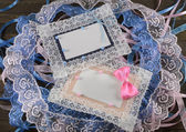 Blue and pink greeting cards — Stock Photo