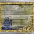 Wooden planks with sea rope frame and ship silhouette — Stock Photo