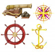 Set with the hand drawn cannon, wind rose, steering wheel and anchor — Stock Photo #46312165