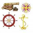 Set with the hand drawn cannon, wind rose, steering wheel and anchor — Stock Photo