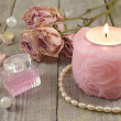Rose candle with pink perfume — Stock Photo #46315845