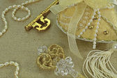 Golden keys with jewelry — Stock Photo