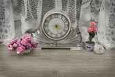 Vintage clock still life — Stok fotoğraf