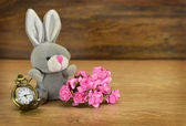 Sitting rabit with flowers — Stock Photo