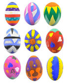 Collection of hand-painted Easter eggs — Stok fotoğraf
