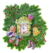 Christmas clock in conifer branches frame with baubles, bell and socks — Stock Photo