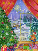 Magic of Christmas night, watercolor illustration — Stock Photo