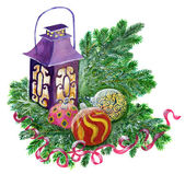 Magic Christmas lantern with baubles and conifer branches — Stock Photo