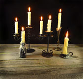 Burning candles in the night — Stock Photo