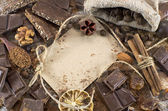 Chocolate still life with chocolate mix, greeting card and spices — Stockfoto