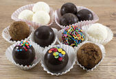 Collection of the decorated chocolate candies — Stock Photo
