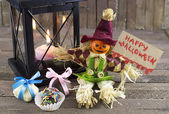 Halloween doll with candies and gifts — Stockfoto