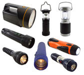 Collection of flashlights — 图库照片