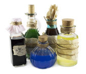 Glass bottles with magic remedies — Stok fotoğraf