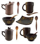 Asian cups, plates and spoons — Stok fotoğraf