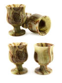 Set of stone wine goblets — Stock Photo