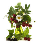 Summer bunch of flowers and berries — Foto Stock