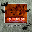 Halloween card with pumpkins and bats — Stock Photo #50234459