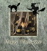 Halloween card with witch and cat — Stock Photo