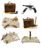 Pirate set with maps and guns — Stock Photo