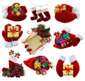Christmas collection with Santa mittens — Stock Photo