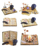 Halloween collection with magic books — Stock Photo