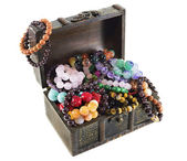 Wooden chest with treasures — ストック写真