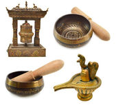 Buddhist and Indian religious objects — Stock Photo