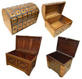 Set with wooden trunks — Stock Photo