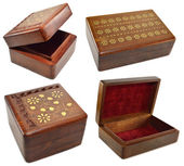 Wooden boxes with incrustation — Stock Photo