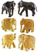Decorated wooden elephants — Stock Photo
