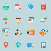 Shopping icônes défini. design plat coloré. — Vecteur
