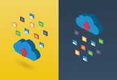 Isometric clouds computing concept illustration for web. — Stock Vector