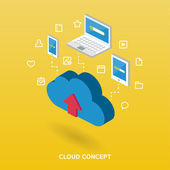 Isometric cloud computing concept illustration for web. — Stock Vector