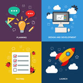 Web development process concept - planning, design, development, testing, launch. Vector flat illustration, icons and infographics — Stock Vector