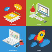 Web development process concept - planning, design, development, launch. Vector flat illustration, icons and infographics, isometric style — Stock Vector