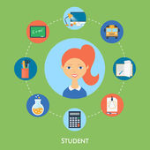Student, vector character, education icons. Flat style — Stock Vector